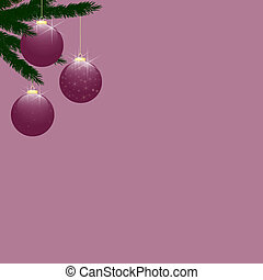 Christmas Tree Baubles on Rose Pink