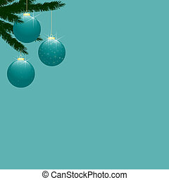 Christmas Tree Baubles on Turquoise - Three turquoise aqua...