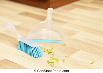Sweeping - Brush and dustpan for sweeping