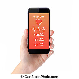 isolated female hand holding a phone health card monitoring...