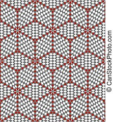 Hexagons and diamonds optical illusion pattern Seamless...