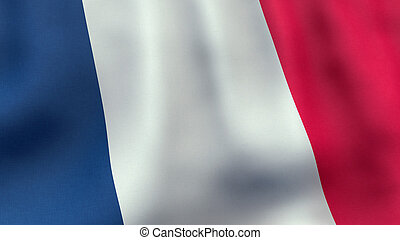 3D rendered waving French flag - A 3D rendered still of a...