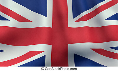 3D rendered waving British flag - A 3D rendered still of a...