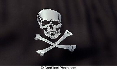 3D rendered waving Jolly Roger pirate flag - A 3D rendered...