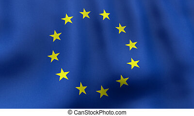 3D rendered waving European Union flag - A 3D rendered still...