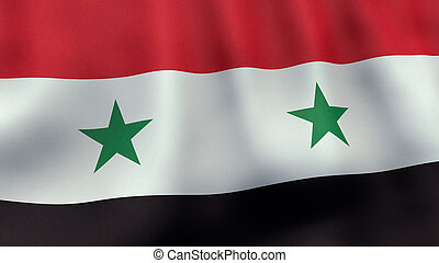 3D rendered waving Syrian flag - A 3D rendered still of a...