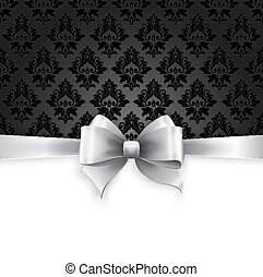 Invitation card with Silver holiday ribbon on vintage background