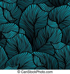 Retro seamless pattern with abstract doodle leaves - Vector...