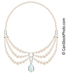 Pearl necklace of three strands with a diamond suspension