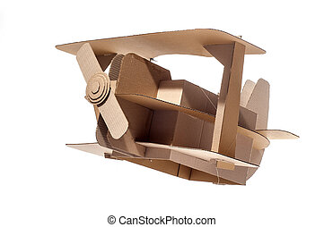 cardboard biplane - Photo of cardboard plane on white...