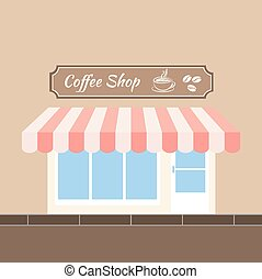 Coffee shop - Facade of a coffee shop store or cafe. Vector...