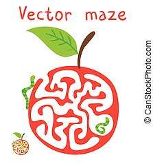 Vector Maze, Labyrinth with ?aterpillar and Apple.