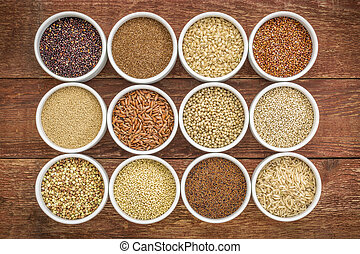 healthy, gluten free grains collection quinoa, brown rice,...