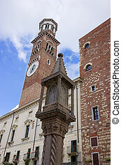 Verona, Lamberti bell tower in summer in Verona, Italy