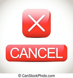 Cancel, exit, close, quit button set. Red vector buttons.