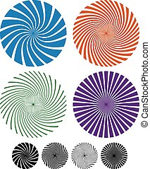 Vector. Spiral, spire set. Concept for whirl, whirlpool,...