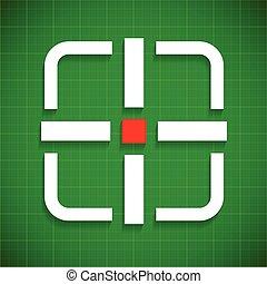 Crosshair, target over green gridded background