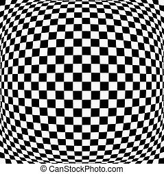 Bulging checkered background Bulging checkered background -...