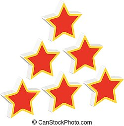 Red stars in triangle composition