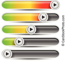 Horizontal progress bars User interface elements, multimedia...