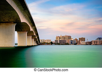 Sarasota, Florida, USA town cityscape from Sarasota Bay