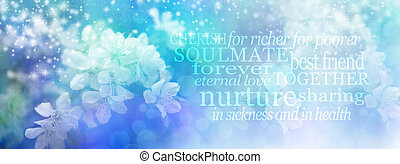 Wedding Word Cloud - Beautiful Blue Blossom Bokeh effect on...