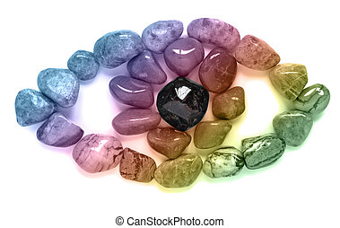 Rainbow Crystal Eye - Healing crystals laid out in the shape...