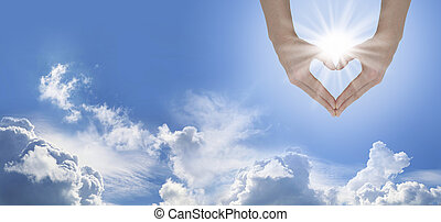 Sun Lover Blue Sky Banner - Female hands forming a heart...