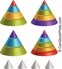 Pointed triangular shapes. Pyramid, triangle charts. Pointed...