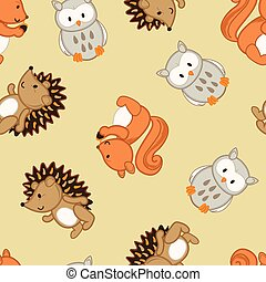 Cute forest animals in a seamless pattern