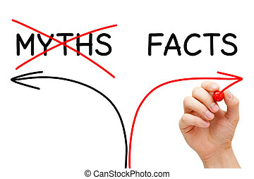 Myths Facts Arrows Concept - Hand drawing Myths or Facts...