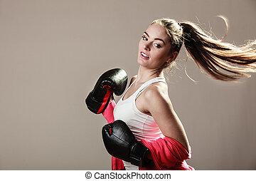 Feminist woman training, boxing. - Feminist and emancipation...