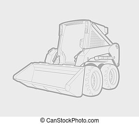 skid loader - A small skid loader in lines. gray background....