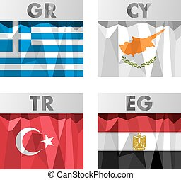flags in polygonal style - Greece, Cyprus, Turkey and Egypt...
