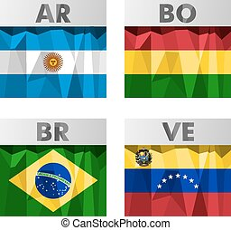 flags in polygonal style - flags of Latin America Argentina,...