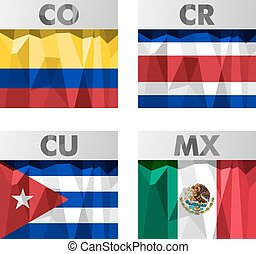 flags in polygonal style - flags of Latin America. Colombia,...