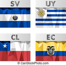 flags in polygonal style - flags of Latin America El...