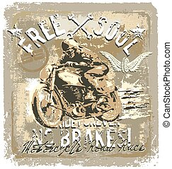 motorcycle road racer - vintage motorcycle vector...