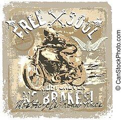 motorcycle road racer - vintage motorcycle vector...