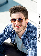 Portrait of a young handsome man outdoor - Young handsome...