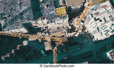 Flying Above Unfinished Building, aerial view