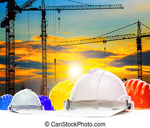 safety helmet and structure of high crane in construction...