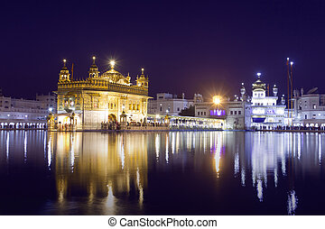 Golden Temple at night in Amritsar, Punjab, India. The most...