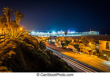 View of Pacific Coast Highway at night, from Palisades Park, in