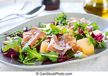 Prosciutto with rocket and cantaloupe salad - Prosciutto...