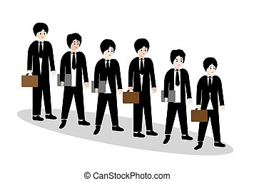 Businessmen waiting in line
