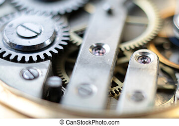 details clockwork - view of the toothed gear and other...