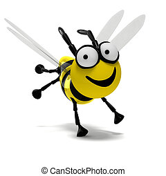 3D bee - isolated very happy 3D bee