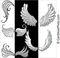 stylized wings - artistically painted, stylized, contoured...