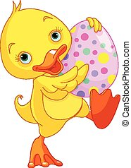 Easter Duckling Carry Egg - Illustration of Easter duckling...